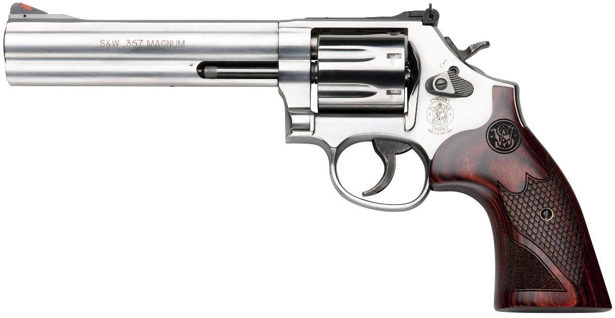 "<body><p style=""font-family:arial;""><p align=""left""> Caliber: .357 Magnum, .38 S&W SPECIAL +P</br> Capacity: 7</br> Barrel Length: 6"" / 15.2 cm</br> Overall Length: 11.9""</br> Front Sight: Red Ramp</br> Rear Sight: Adjustable White Outline</br> Action: Single/Double Action</br> Grip: Textured Wood</br> Weight: 44.9 oz / 1,272.9g</br> Cylinder Material: Stainless Steel</br> Barrel/Frame Material: Stainless Steel</br> Frame Finish: Satin Stainless</br> <h1 style=""color:green"">$799.00</h1></p></body></html>"