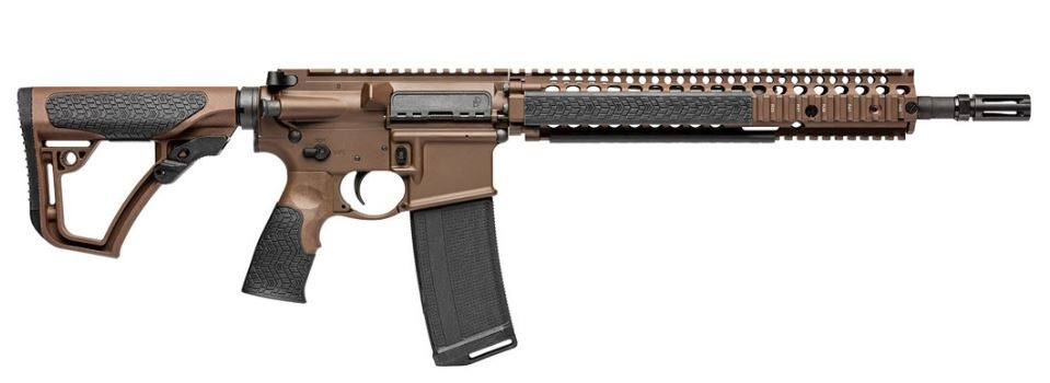 "Daniel Defense, M4A1 Mil Spec and Semi-automatic AR,</br>223 Rem/556NATO, 16"" (14.5"" with Pinned Brake)</br> Hammer Forged Barrel, Flat Dark Earth Finish, </br>32Rd, Daniel Defense Furniture,</br> 1-32Rd Daniel Defense Magazine"