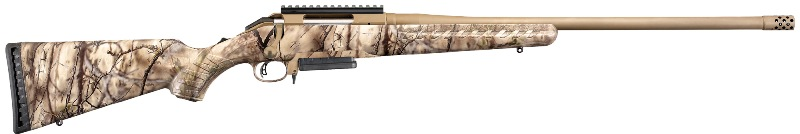 "Ruger American</br>.308 Win, 22"" Barrel w/Muzzle Brake, Cerakote Bronze Finish </br> Go Wild Camo Synthetic Stock, Scope Base, 3Rd </br>American Made"