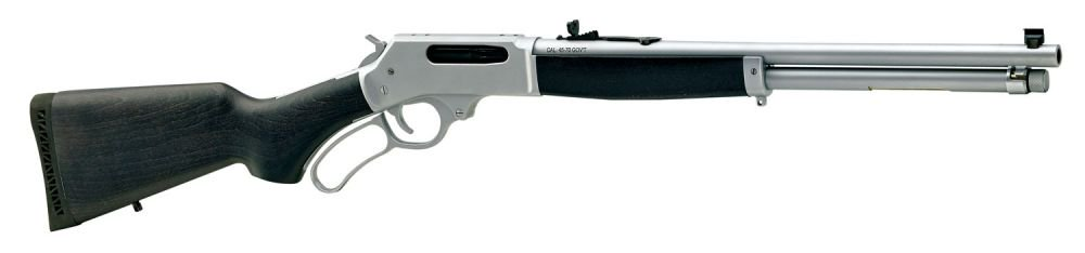 This All-Weather has a 18.43-inch round barrel, 4-shot magazine, and adjustable buckhorn/bead sights